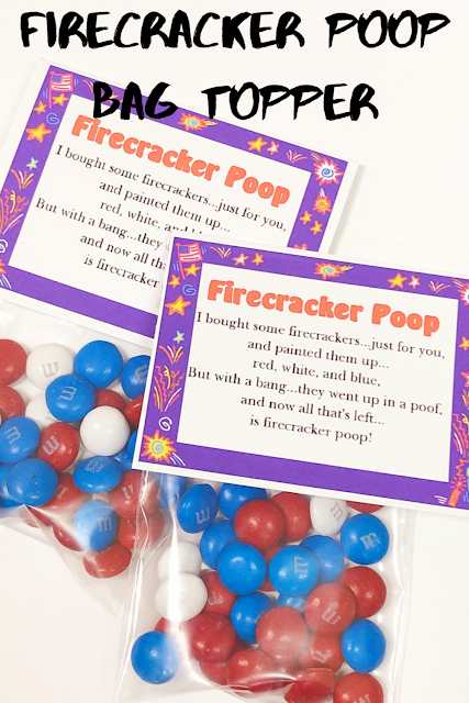 Give a little fun, excitement, and some laughs with this printable bag topper containing M&M Firecracker Poop!