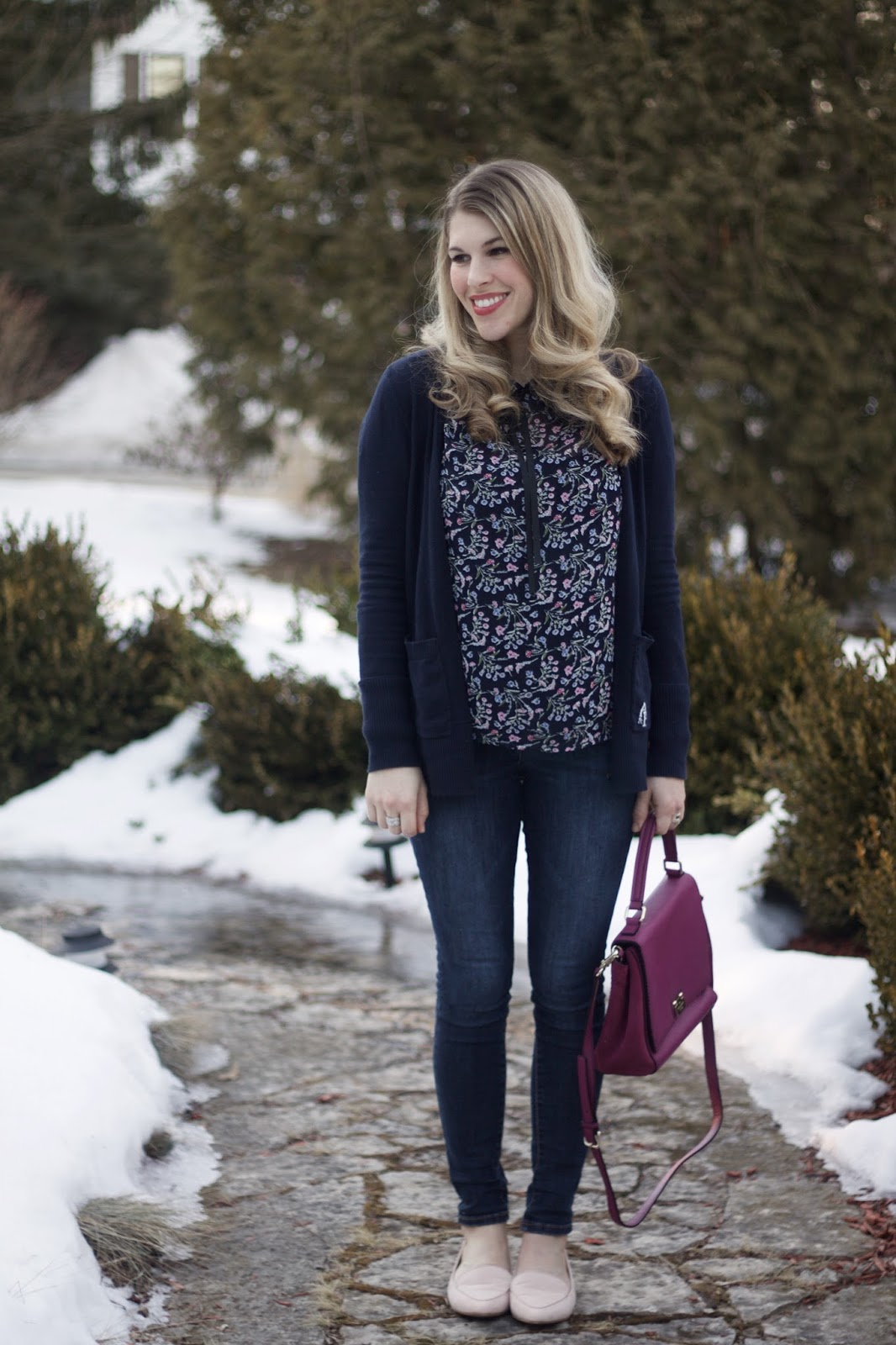 navy tie neck floral blouse, navy cardigan, old navy rockstar jeans, Kate Spade plum bag, blush loafers, casual Friday outfit