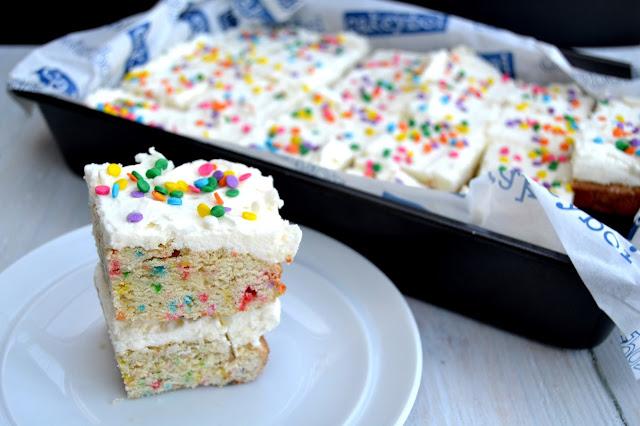 birthday cake bars funfetti sprinkles vanilla almond flavoured cake cut into individual servings