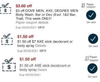 Axe body-wash or deodorant CVS crt store Coupon (Select CVS Couponers)