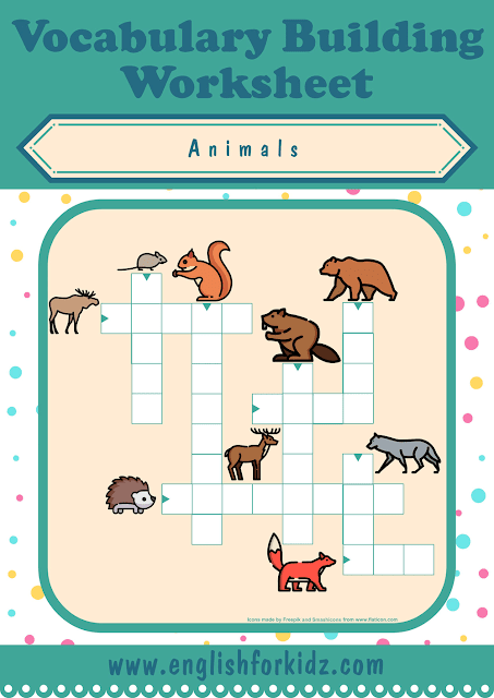 Forest animals crossword puzzle - printable ESL worksheets
