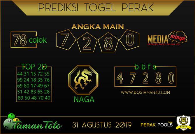 Prediksi Togel PERAK TAMAN TOTO 31 AGUSTUS 2019