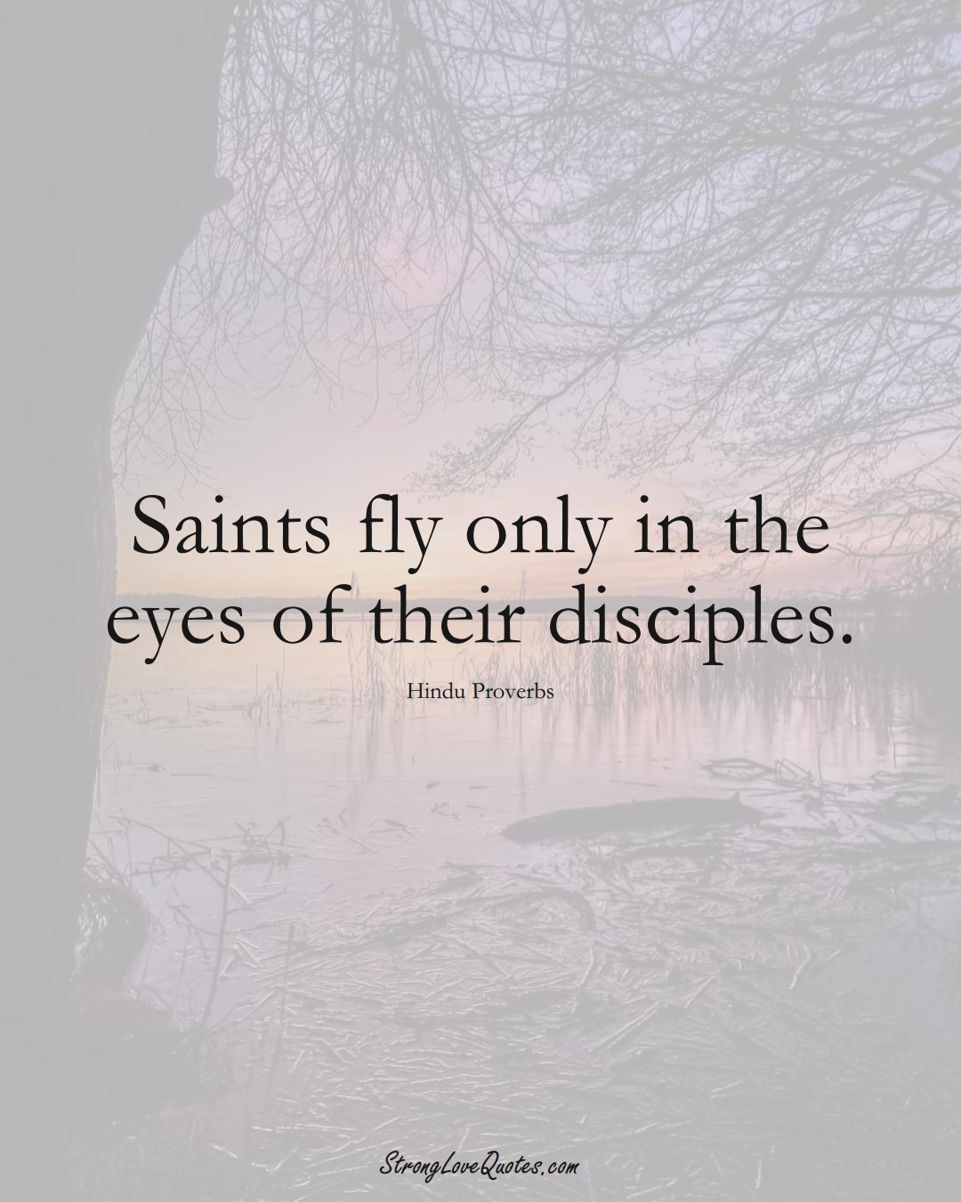 Saints fly only in the eyes of their disciples. (Hindu Sayings);  #aVarietyofCulturesSayings