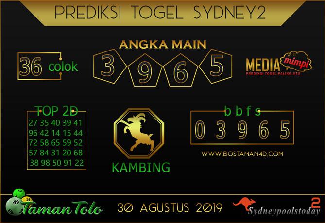 Prediksi Togel SYDNEY 2 TAMAN TOTO 30 AGUSTUS 2019