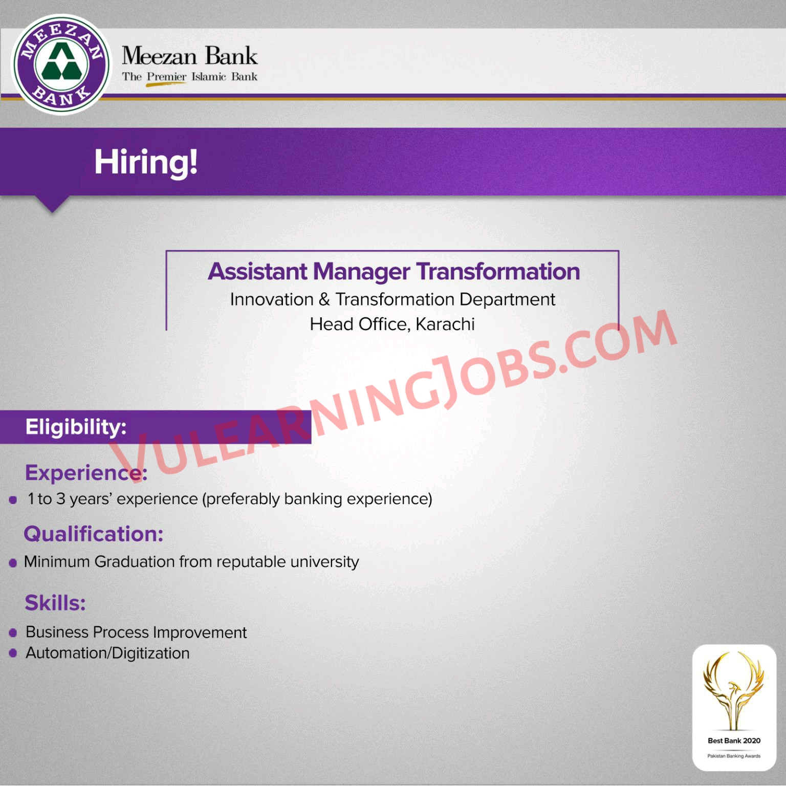 Meezan Bank Limited Jobs September 2021 For Assistant Manager Latest