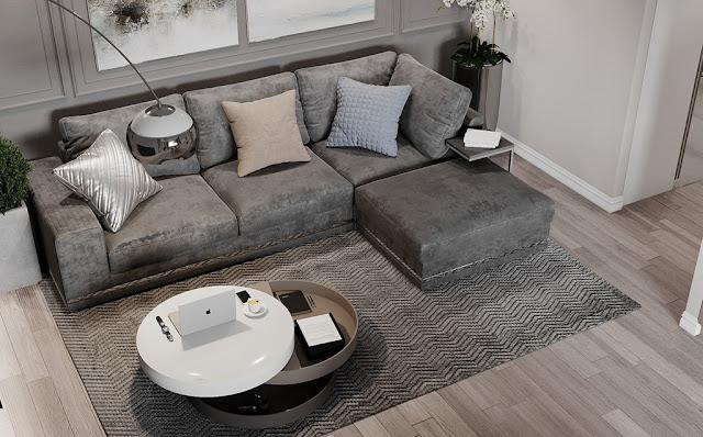 Mẫu thiết kế nội thất chung cư phong cách hiện đại màu xám lông chuột P2