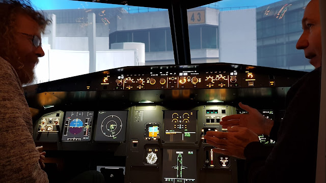 Cockpit flight instructions from the pilot Airbus A320
