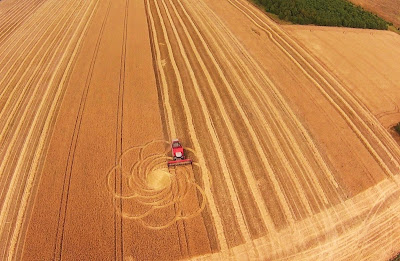 Harvester mows circles on a field in Bavaria, Germany