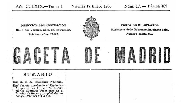 reglamento instalaciones electricas receptoras 1930 - gaceta de madrid