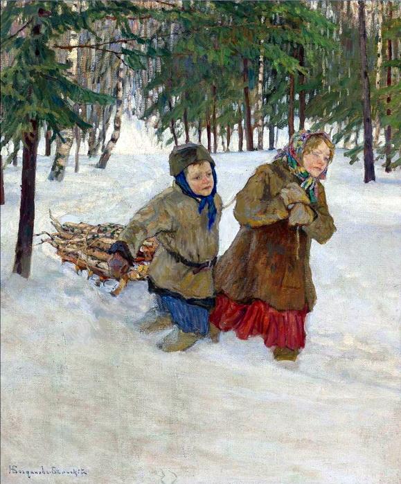 Nikolay Bogdanov-Belsky, Winter, Natur, Arbeit, Wald, Kampf, Familie, das Leben, Schnee, Holz zum heizen, weiße pracht, zusammenhalt, kräfte auf die probe stellen, sich anstrengen, kinder, überleben, paintings, malerei, bild, poetische Art