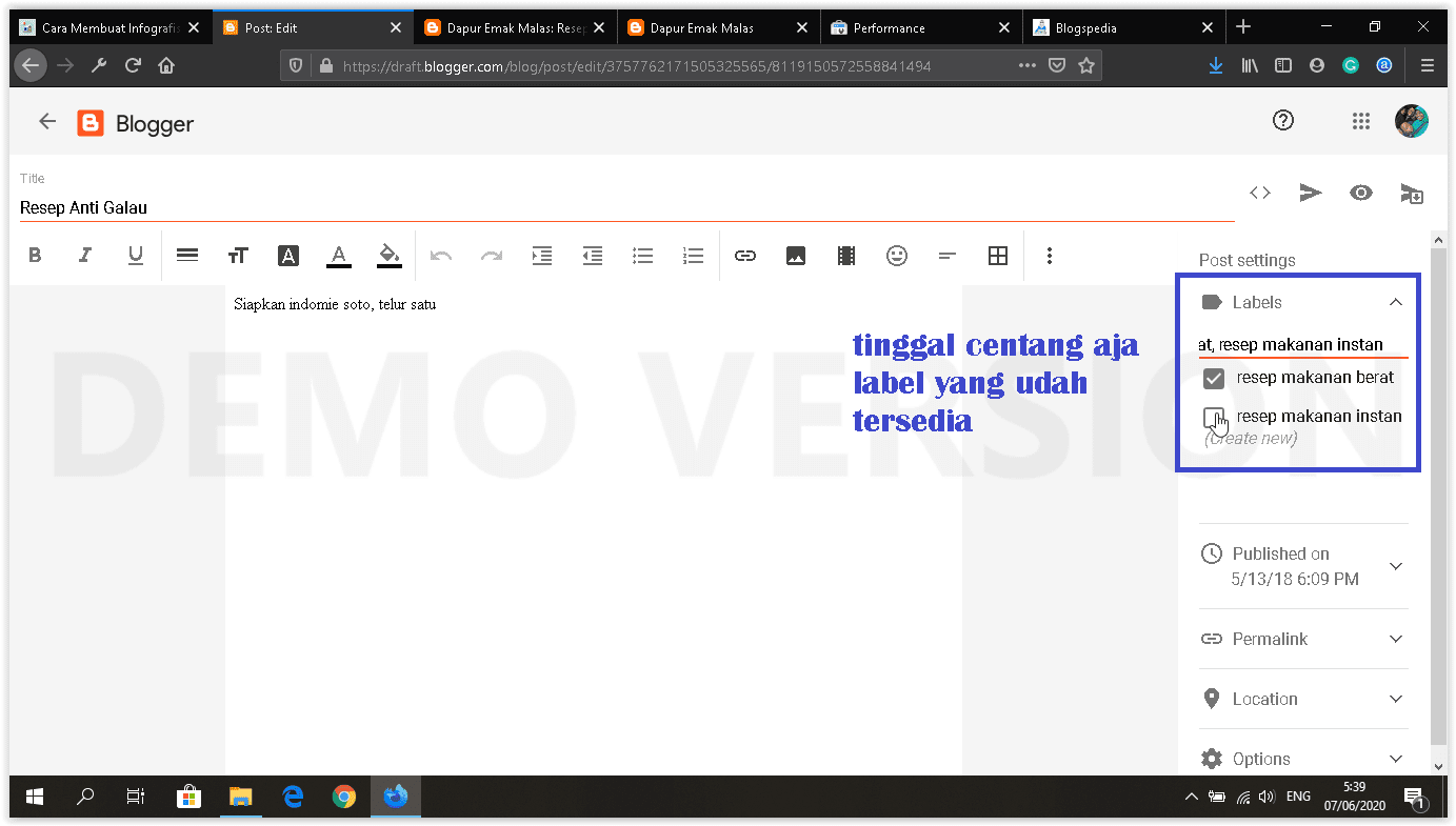 dashboard blogger baru edit label postingan