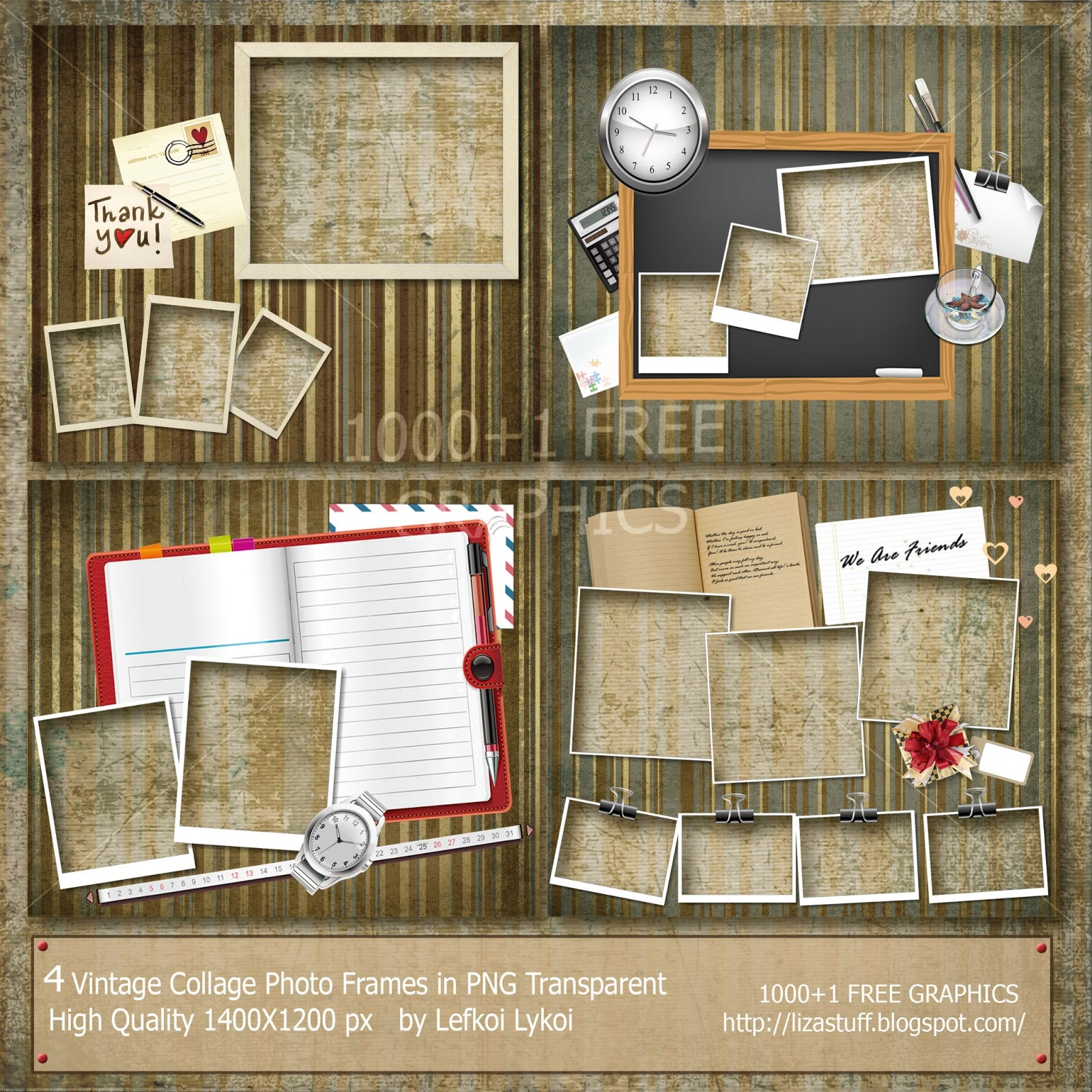 8 Vintage Collage Photo Frames in PNG Transparent High Quality ...