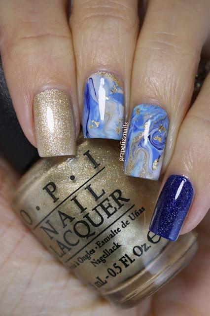 OPI Winter Blue Drip Marble Mani