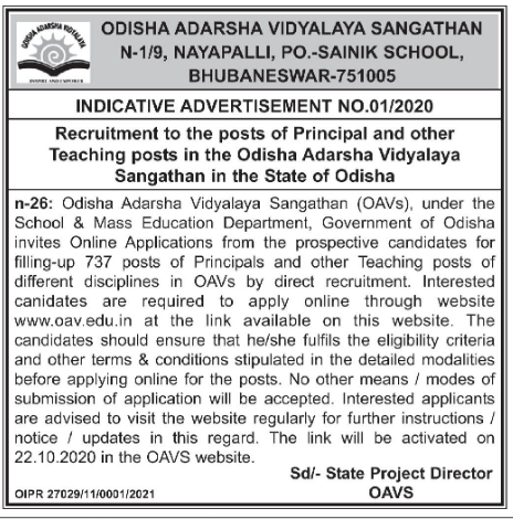 OAVS Recruitment 2020-21 for 737 Vacancy