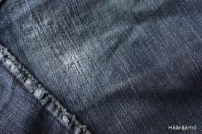 Farkkujen korjaus suoralla ompeleella