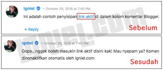 Otomatis Mematikan Link Aktif Spam Dalam Isi Komentar Website