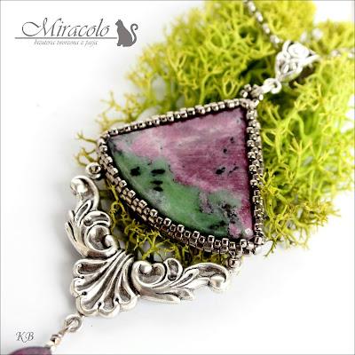 Miracolo, zoisyt, rubin, anyolit, granat , wisiorek z grantem, zoisyt and ruby pendant, anyolite pendant