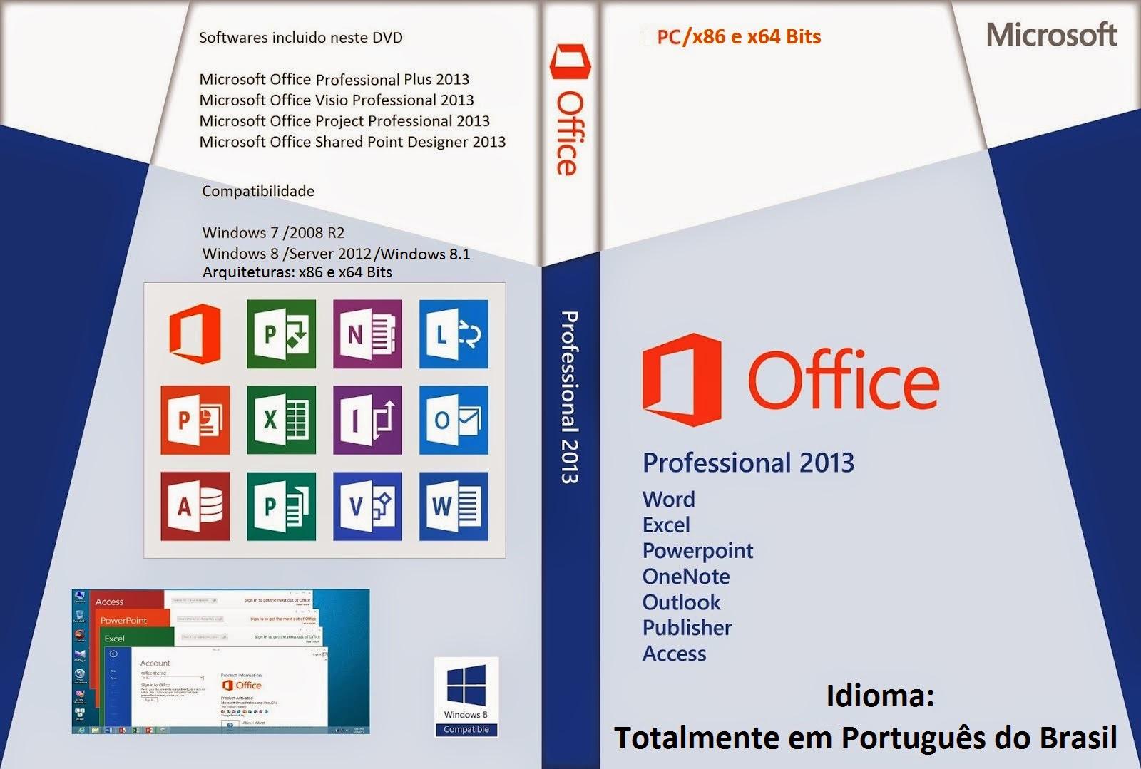 Microsoft Office 2013 x86/x64 DVD Capa