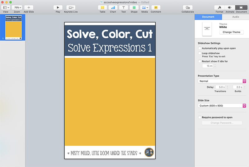 Screenshot of Keynote file showing pin background - title at top Solve, Color, Cut Solve Expressions 1 with blue background, middle of pin is yellow, bottom of pin is white with Misty Miller, Little Room Under the Stairs