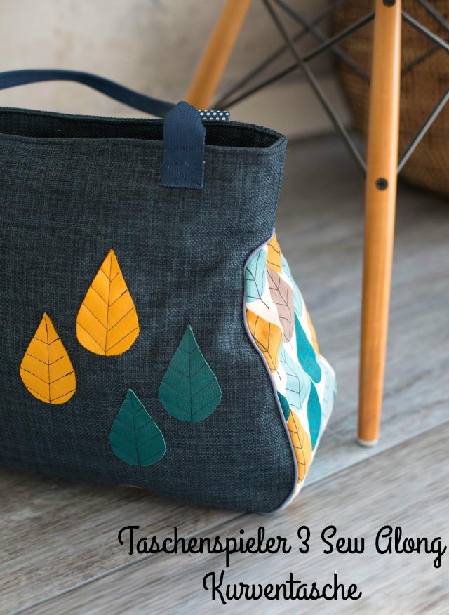 blaue Tasche - Schnitt Kurventasche von Farbenmix.  Beispiel Frühstück bei Emma