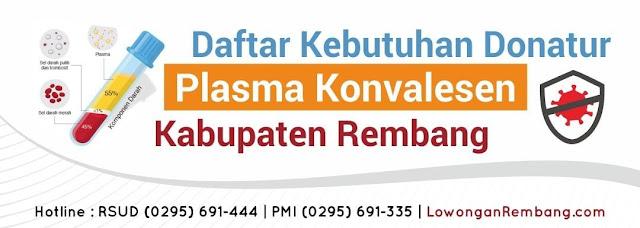 Daftar Kebutuhan Donatur Plasma Konvelesen Kabupaten Rembang