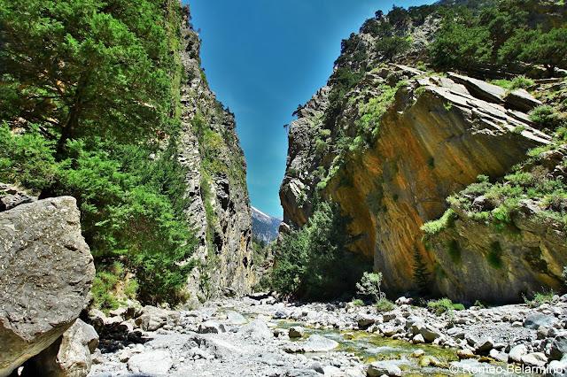 River and Snow Capped Mountain Samaria Gorge Hike Crete Greece