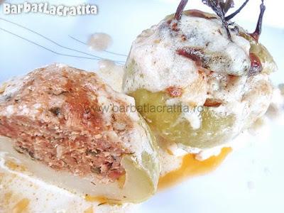 gulii umplute cu carne tocata la cuptor (in sos alb)