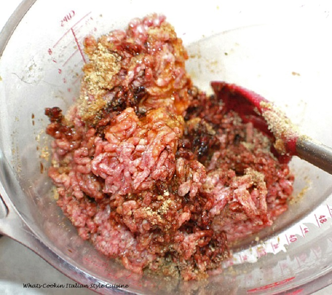 this is the recipe to make salisbury steak marsala and this is the raw hamburger mixed with ingredients