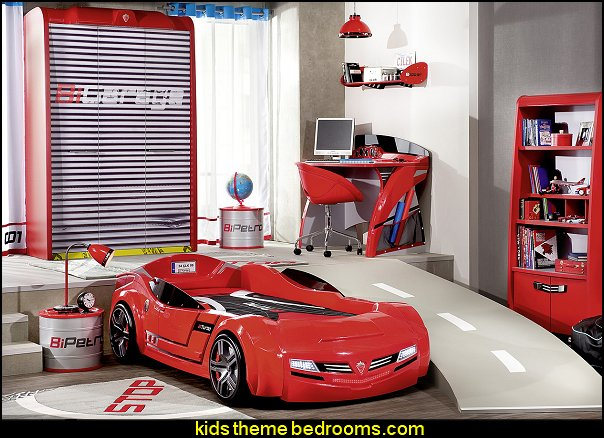 Need for Sleep Garage bedroom furniture car bed gcar beds for kids arage door wardrobe Barrel Nightstand car themed bedroom furniture