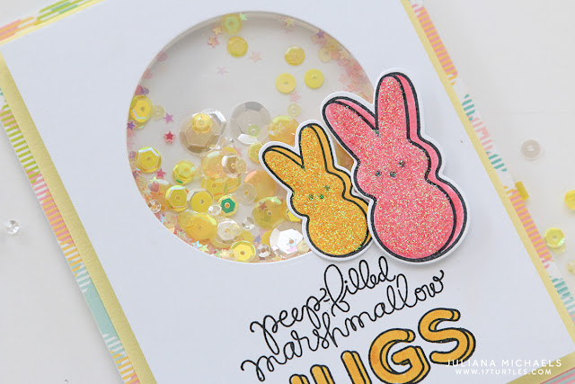 Peep Bunny Easter Shaker Box Card with stamping and glitter by Juliana Michaels featuring Simon Says Stamp March 2016 Card Kit