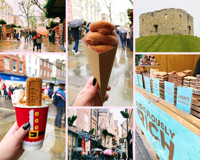 collage - York Christmas markets, Clifford's Tower, Brownies, Hot Chocolate, Doughnuts