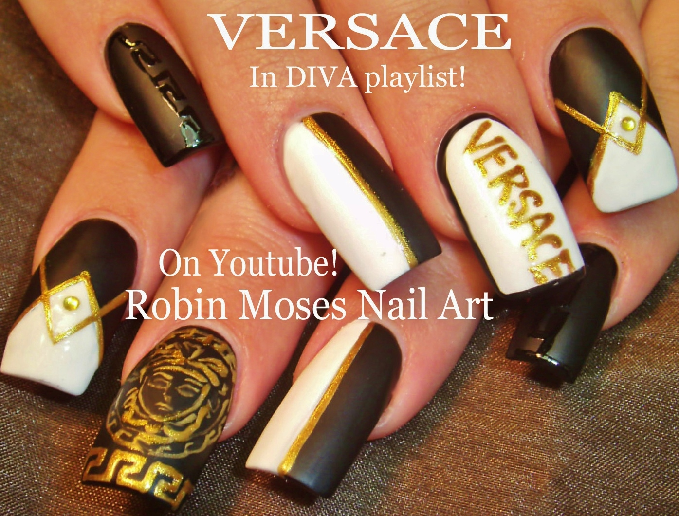 Nail Art By Robin Moses Soft Tan With Black And Gold Winter Diva
