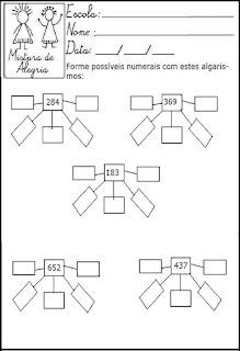 Matemática, atividade com algarismos