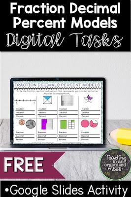 Fraction Decimal Percent Digital Task