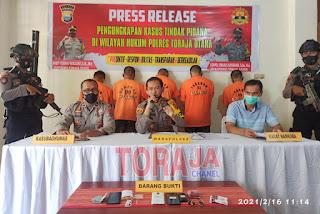 4 Pelaku Tindak Pidana Narkoba di Toraja Utara Diamankan Polisi