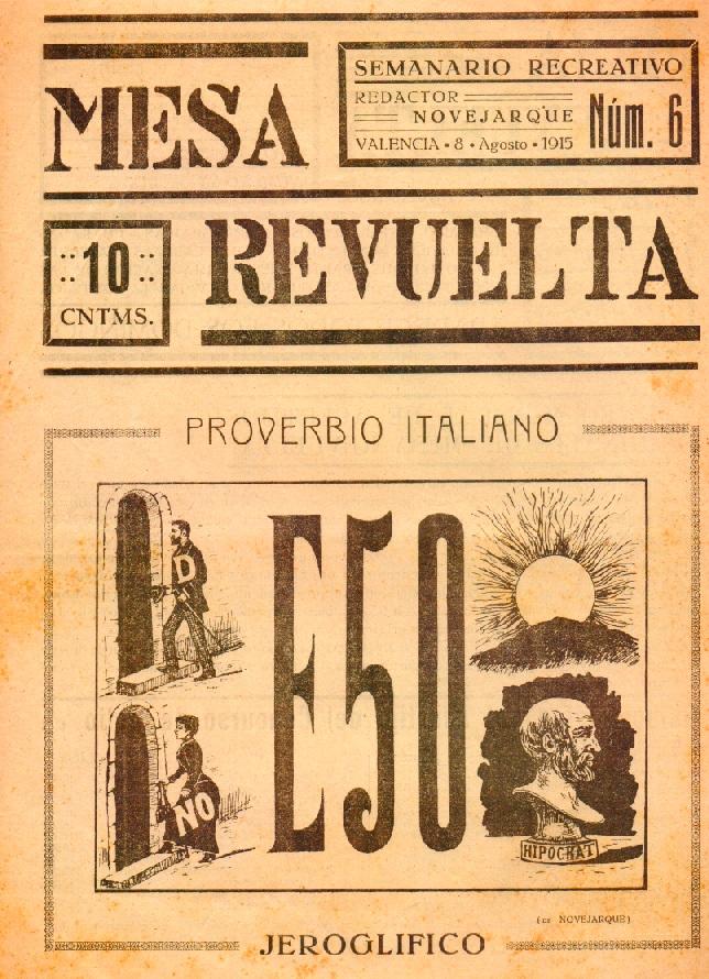 Portada del nº 6 de Mesa Revuelta, 8 de agosto de 1915