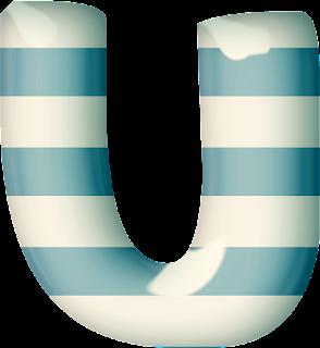Abecedario 3D con Franjas Azules y Blancas.