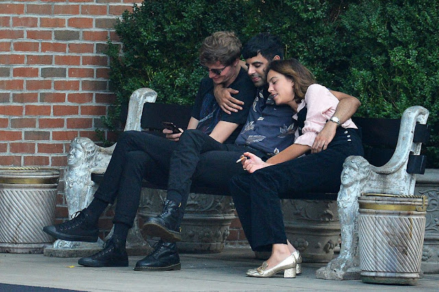 Alexa Chung Having a Smoke Break & snuggles up with ex-boyfriend Matthew Hitt in NY City