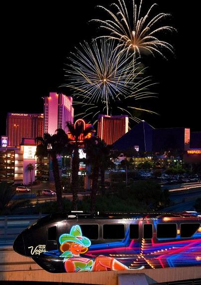Monorail no Reveillon em Las Vegas