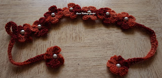 free crochet belt pattern, free crochet head band pattern, free crochet flower motif