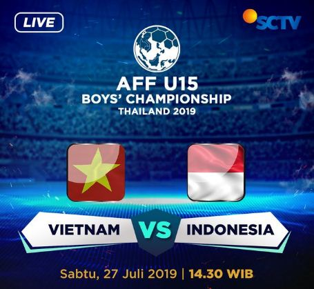 Jadwal Timnas Indonesia vs Vietnam Sabtu 27 Juli 2019 -  Piala AFF U-15 Thailand Live SCTV