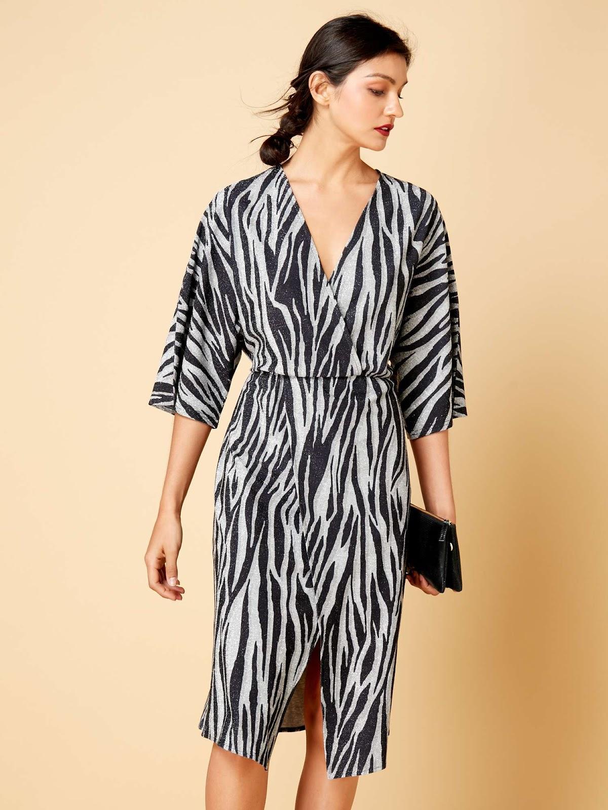 biba zebra lurex knot dress