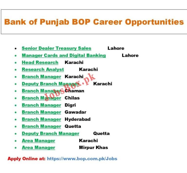 www.bop.com.pk Jobs 2021 - Bank of Punjab BOP Jobs 2021 in Pakistan