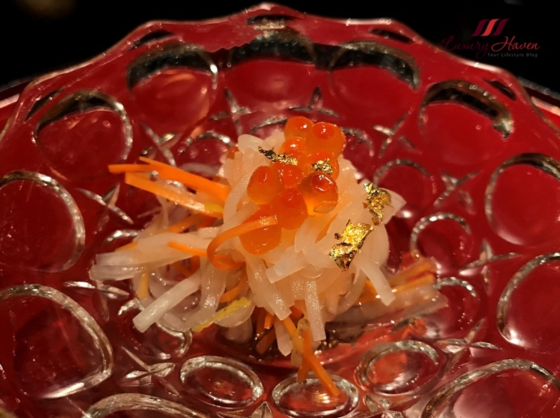 japanese fine dining salmon roe edible gold dust