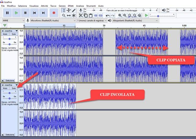 incollare clip altra traccia su audacity