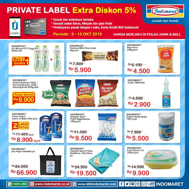 #Indomaret - #Promo Katalog Private Label + Ekstra Diskon 5% (s.d 15 Okt 2019)