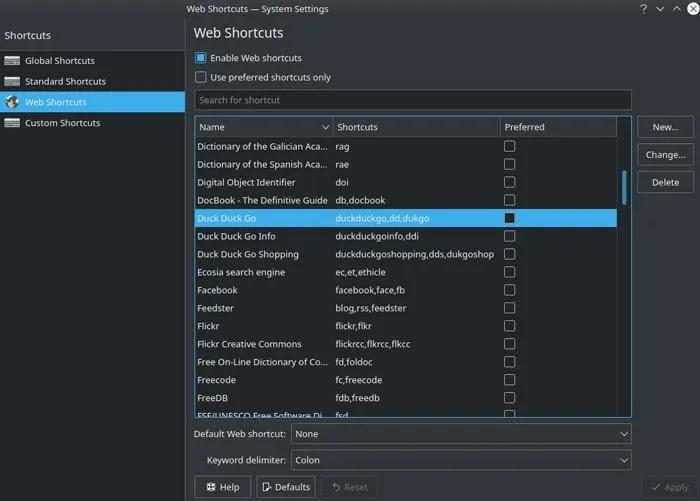 مفاتيح Remap Kde Web Shortcuts