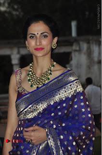 Model Shilpa Reddy Stills in Purple Silk Saree at Gudi Sambaralu 2017 Sri Ramachandra Swami Temple  0041.JPG