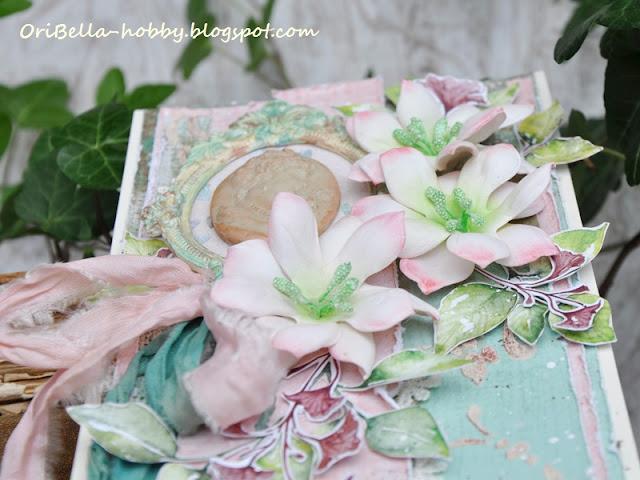 kartka z foamiranowymi kwiatami