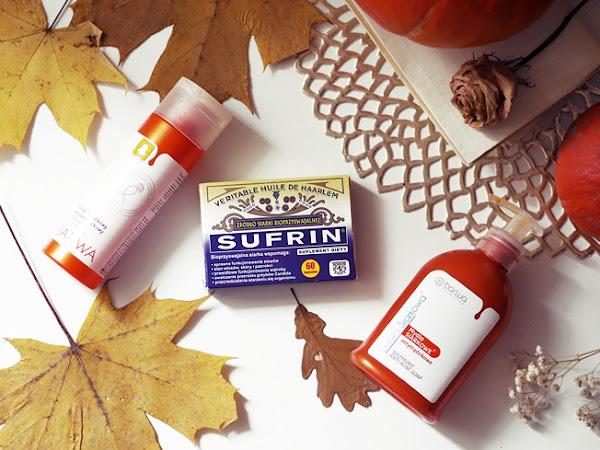 204. Moja siarkowa pielęgnacja: antytrądzikowy tonik, mydło oraz suplement Surfin.